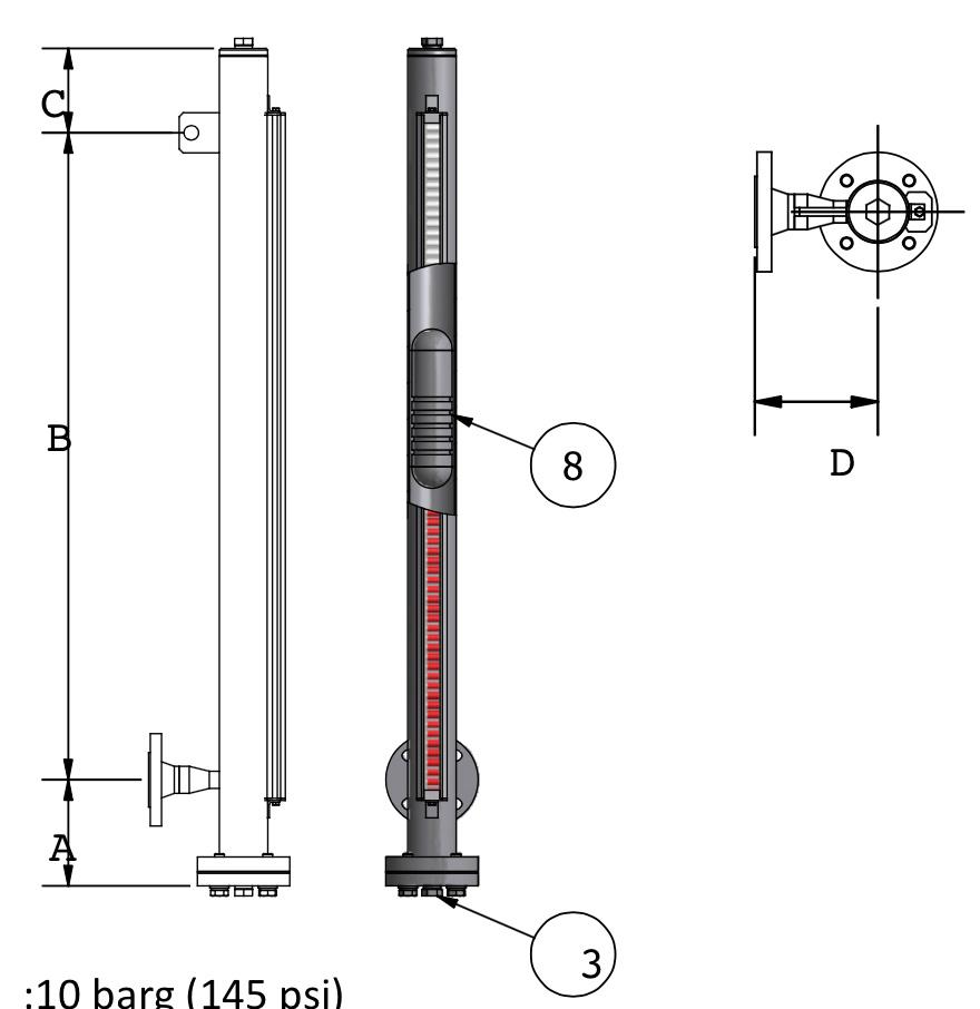 Drawing of Magnetic Level Gauge model MLA